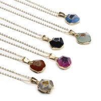 Irregular Natural Agate Gold Plated Pendant Necklaces Original Style For Women Girl Party Club Decor Fashion Jewelry