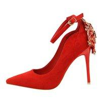 Zapatos de vestir Hebilla Boda Rhinestone Mujer Bombas de estilo elegante Red Single 10.5cm Partido de SpringAutumn Party Tacones altos
