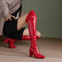Boots Shoes Women High Heels Luxury Designer Zipper Stiletto Fashion Leather Pointy Rubber Over-the-Knee Large Size Sexy Ladies
