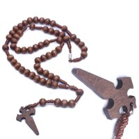 Pendant Necklaces 1Pc Jesus Wooden Prayer Beads 6mm Rosary Cross Necklace Woven Rope Chain Jewelry Accessories Church Supplies