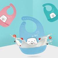 Baby silicone babs 6 colores impermeable almuerzo baberos ajustables niños niñas niños silicona suave bebé saliva dibujos animados bebé baberos gga4254