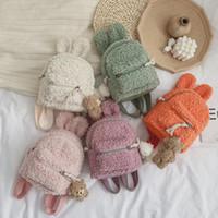Moda Çocuklar Sevimli Tavşan Bebek Sırt Çantası Peluş Sırt Çantası Sevimli Bunny Kulak Anaokulu Okul Çantası Kış Sıcak Polar Açık Seyahat Çantası A5874
