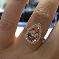 Fashion Elegant Cubic Zircon Finger Ring Rose Gold Color CZ Diamond Engagement Rings Champagne Crystal Wedding DFF4909