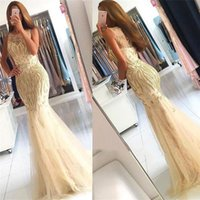 Aso Ebi 2021 Arabic Plus Size Champagne Mermaid Sexy Evening Dresses Sheer Neck Lace Beaded Prom Formal Party Second Reception Bridesmaid Gowns Dress ZJ496