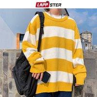 Men's Sweaters LAPPSTER Men Oversized Striped Sweater 2021 Mens Winter Korean Fashions Male Pullover Harajuku Black