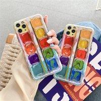 Capas telefônicos criativos para iphone 12 pro 11 7 8 x Xs max xr cor pigmento de arte completa protetor de lente tampa