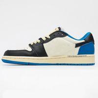 Hombres mujeres zapatos de baloncesto Jumpman 1 1S Low OG SP DISEÑO FRAGMENTO X TS Negro Royal Sail Sneakers Caja original