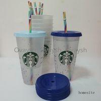 24OZ 710ml Starbucks Rainbow Plastic Tumbler Reusable Clear Drinking Flat Bottom Cup Pillar Shape Lid Straw Mug Bardian