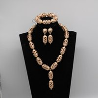 Earrings & Necklace Dubai Gold Jewelry Set For Women African Wedding Copper Chunky Pendant Bridal Gift 9 Styles WE247