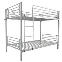 침실 가구 도매 디자인 스틸 더블 데커 아이언 이층 침대 어린이를위한 사다리가있는 쌍둥이 크기 회색