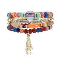 Neueste Mode Eiffelturm Anhänger Perlen Armband Handgemachte Männer Frauen Bunte Acryl Perlen Armband Beliebte Schmuckset