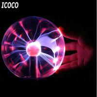 ICOCO 3インチUSBプラズマボール静電球ライトマジッククリスタルランプボールタッチセンシティブ透明デスクトップライト
