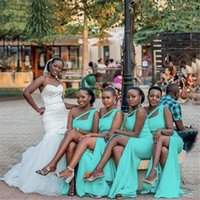 2021 African Mint Turquoise Mermaid Long Bridesmaid Dresses One Shoulder Custom Made Stretchy Plus Size Wedding Guest Gowns Maid Of Honor Dress With Side Split
