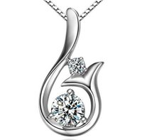 2021 Лучший сорт алмазное кулон ожерелье Cubic Zircon 925 Стерлинговое серебро Маленькая русалка кулон Ожерелье для свадьбы Женщины Ювелирные Изделия