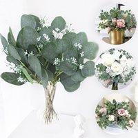 5 adet Yapay Bitkiler Yeşil Okaliptüs Yaprakları DIY Gelin Buketi Sahte Çiçekler Ev Bahçe Parti Düğün Çiçek Süslemeleri Için