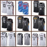 2021 Новый Баскетбол Джерси БруклинNet Mens Kevin James 13 Harden 7 Durant Kyrie 72 Biggie 11 Irving Army Green
