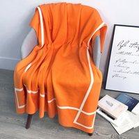 mantas diseñador de lujo de lana de lujo algodón algodón naranja sofá tejer calidez-manta oficina siesta solo acolchado superior venta