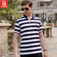 Nouveau Summer Nianjeep / Jeep Shield Homme Stripe Stripe Spripe Sport Polo Chemise T-shirt en coton à manches