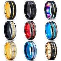 結婚指輪ファッション8mmのメンズレッドグルーブ斜めのエッジタングステンカーバイドリング黒のケルトのドラゴンカーボンファイバーメンズバンド