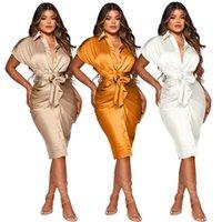 Free Ship 2021 Autumn Women Fashion Soild Lapel Neck Shirt Dresses Casual High Waist Pleated Knee Length Dress for Lady