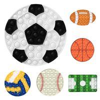 Sport Football Basketball Bubble Fidget Toys Autism Stress Reliever Giocattoli per bambini Semplice Dimple Silicone Relax Giocattoli Giocattoli