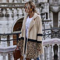 2021 New Open Stitch Flocking Plush Women Autumn Winter Leopard Patchwork Jacket Coat Female Casual 4hlm