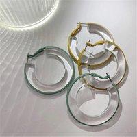 큰 후프 간단한 여러 가지 빛깔의 투명 스프레이 페인트 아크릴 귀걸이 후프 귀걸이 여성 액세서리