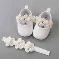 Fascia in cotone Soft Sole Sole Shoes Set per Born Baby Girl Ballerina Scarpe Battesimo Battesimo Flillo Carino Avorio First Walkers 210728