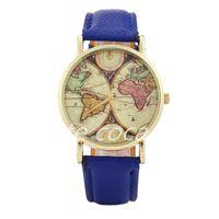 5pcs Litchi belt watch map Dial Men's quartz watch in stock-1-52