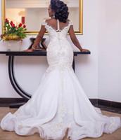 2021 Plus Size Arabo Aso Aso EBI Abiti da sposa in rilievo in rilievo in rilievo Sheer Neck Mermaid Abiti da sposa Vintage Abiti da sposa Vestido De Novia