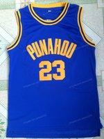 Spedizione da noi Barack Obama # 23 Punahou High School Basket Blacksy Jersey Men's Tutte le cuciture blu taglia S-3XL Maglie di qualità superiore S-3XL