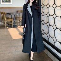 Women's Wool & Blends Long Woolen Overcoat Women Loose Slim Lapel Splicing Contrast Fake Two Autumn Winter Draw Back Lace Thicken Black Fema