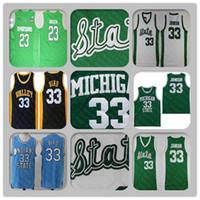 남자 미시간 주 스파르타 대학 33 마법 존슨 23 Draymond Green Jersey 스티치 33 조류 고등학교 농구 유니폼 저렴한
