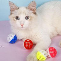 Pet Toys Hollow Plastic Cat Colourful Ball Toy With Small Bell Lovable Voice Interactive Tinkle Puppy Playing GWE10583