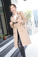 Women's Trench Coats Long classic Windbreaker Waterproof British high-end English style autumn Winter Gabadian Solid color Size Coat K39