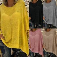 Primavera Casual Donne T Shirt O-Collo Allentato Colore Solido Manica lunga T-shirt Tops Top Black Street Fashion Ladies Autumn Pullover TEE