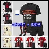 Adulto Kids Kit Ibrahimovic AC 2021 2122 Milan Futebol Jerseys 21 22 Giroud Kessie Futebol Camisetas Theo Rebic Tonali Mandzukic Kjær Brahim Camisa de Futebol Maillot