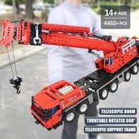 MOULD KING Yellow Red Remote Control GMK Crane Building Blocks 17013 17013H 4460Pcs High-Tech RC Motorized Truck Birthday Toys Christmas Gifts