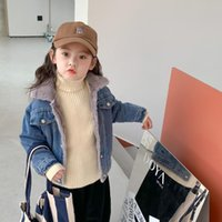 Jackets 2021 Autumn Arrival Girls Fashion Denim Coat Kids Warm Fleece Winter Jacket