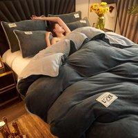 Conjuntos de cama wostar inverno quente flanela sólida conjunto de cama de casal super aconchegante capa de colcha tamanho e fronha têxteis de luxo
