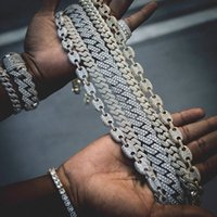 Miss Dropshipping Custom Jewelry Hip Hop Men Women 14K White Gold Plated CZ Diamond Iced Out Cuban Link Chain Bracelet Necklace