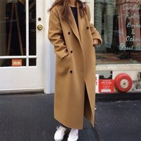 Women's Wool & Blends FTLZZ Spring Autumn Office Lady Turn-down Collar Double Breasted Woolen Long Coat Vintage Solid Color Buttons Warm Out