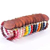 Strands de cuerdas de madera con cuentas Europa y América Pulsera de moda MANUAL Placa de madera Pulseras de amor Diseñador de lujo Cadena elástica 4 5JH B3