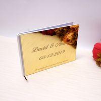 Personalizado 25x18cm casamento personalizado assinatura livro acrílico espelho espelho branco favores favores de fotos