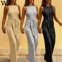 Kadın Tulumlar Tulum Womail Tulum Kadınlar Moda Gevşek Sashes Yaz Katı Casual Kolsuz Straplez Geniş bacaklı Bayan D12