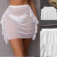 Women's Swimwear Women Beach Skirt Side Ruffled Chiffon High Waist Short Skirts Solid Summer Cover-Ups Female