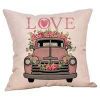 Cojín / almohada decorativa Caso de lanzamiento cuadrado 45x45cm 1pc Feliz día de San Valentín Rose dulce amor impresión Cojín de amortiguador J20 # 40