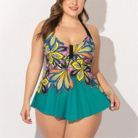 Women's Swimwear Tankini Swimsuits Women Plus Size Bathing Suit With Short Print Swimdress Skirt Dress 2 Piece Bikini High Waist Swimsuit 5X