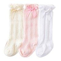 Lindas calcetines de bebé chicas knit rodilla calcetines altos calcetines recién nacidos algodón arcos princesa toddler calcetín ropa de bebé accesorios para niñas 0-2Y B3968