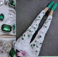 Women's Jeans High-end Design White Denim Pants Green Diamonds Skinny Stretch Pencil Ripped Low Waist Ankle Length